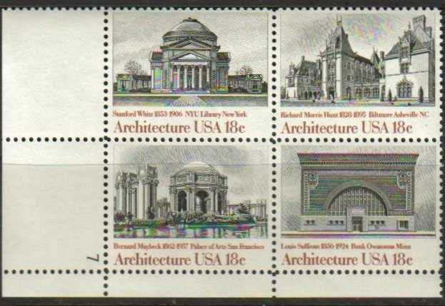 "Scott 1928-1931 Plate Block (18 cents) <p> <a href=""/images/USA-Scott-1928-1931-PB.jpg""><font color=green><b>View the image</a></b></font>"