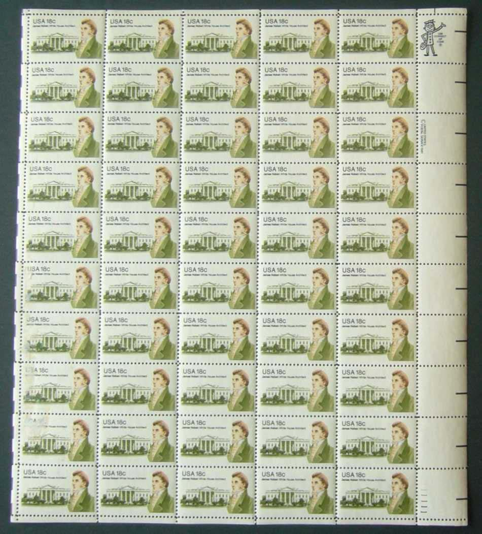 "Scott 1935 Sheet (18 cents) <p> <a href=""/images/USA-Scott-1935-Sheet.jpg""><font color=green><b>View the image</a></b></font>"