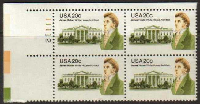 "Scott 1936 Plate Block (20 cents) <p> <a href=""/images/USA-Scott-1936-PB.jpg""><font color=green><b>View the image</a></b></font>"