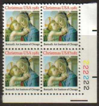 "Scott 1939 Plate Block (20 cents) <p> <a href=""/images/USA-Scott-1939-PB.jpg""><font color=green><b>View the image</a></b></font>"