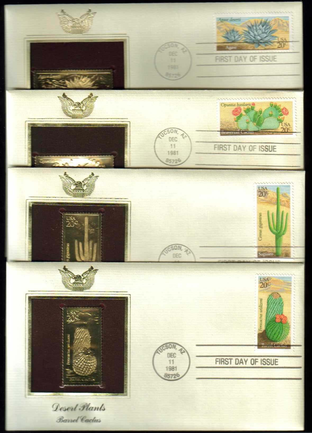 "Scott 1942-1945 Golden Replica (22Kt) unaddressed FDC, Set of 4 <p> <a href=""/images/USA-Scott-1942-1945-Gold.jpg""><font color=green><b>View the image</a></b></font>"
