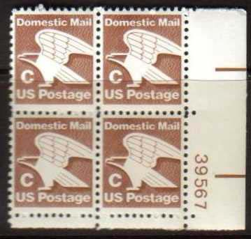 "Scott 1946 Plate Block (20 cents) <p> <a href=""/images/USA-Scott-1946-PB.jpg""><font color=green><b>View the image</a></b></font>"