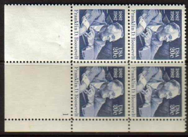 "Scott 1950 Plate Block (20 cents) <p> <a href=""/images/USA-Scott-1950-PB.jpg""><font color=green><b>View the image</a></b></font>"