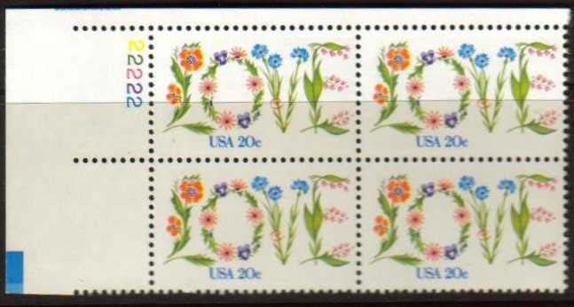 "Scott 1951 Plate Block (20 cents) <p> <a href=""/images/USA-Scott-1951-PB.jpg""><font color=green><b>View the image</a></b></font>"