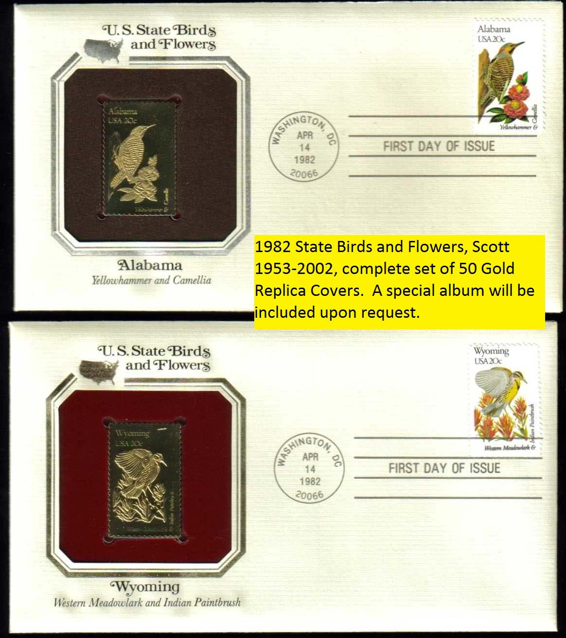 "Scott 1953-2002 Golden Replica (22Kt) unaddressed FDC, Set of 50 <p> <a href=""/images/USA-Scott-1953-2002A-Gold.jpg""><font color=green><b>View the 1st image, </a></b></font><br> <a href=""/images/USA-Scott-1953-2002B-Gold.jpg""><font color=green> <b>View the 2nd image</a></b></font> <br> <a href=""/images/USA-Scott-1953-2002C-Gold.jpg""><font color=green> <b>View the 3rd image</a></b></font>"