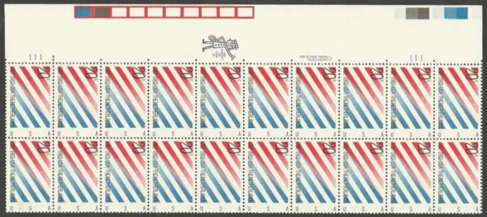"Scott 2003 Plate Block (20 cents X 20) <p> <a href=""/images/USA-Scott-2003-PB-20.jpg""><font color=green><b>View the image</a></b></font>"