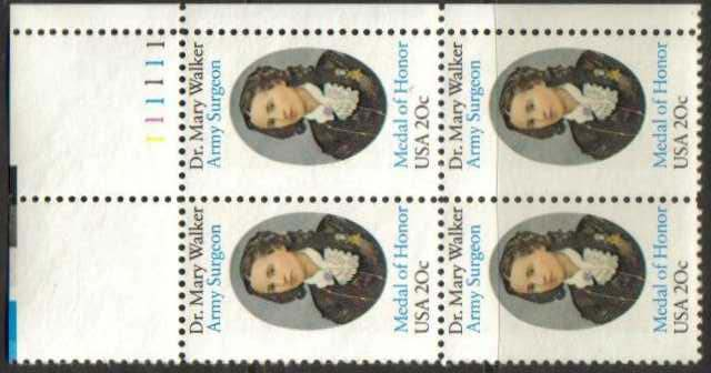 "Scott 2013 Plate Block (20 cents) <p> <a href=""/images/USA-Scott-2013-PB.jpg""><font color=green><b>View the image</a></b></font>"