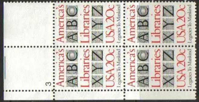 "Scott 2015 Plate Block (20 cents) <p> <a href=""/images/USA-Scott-2015-PB.jpg""><font color=green><b>View the image</a></b></font>"