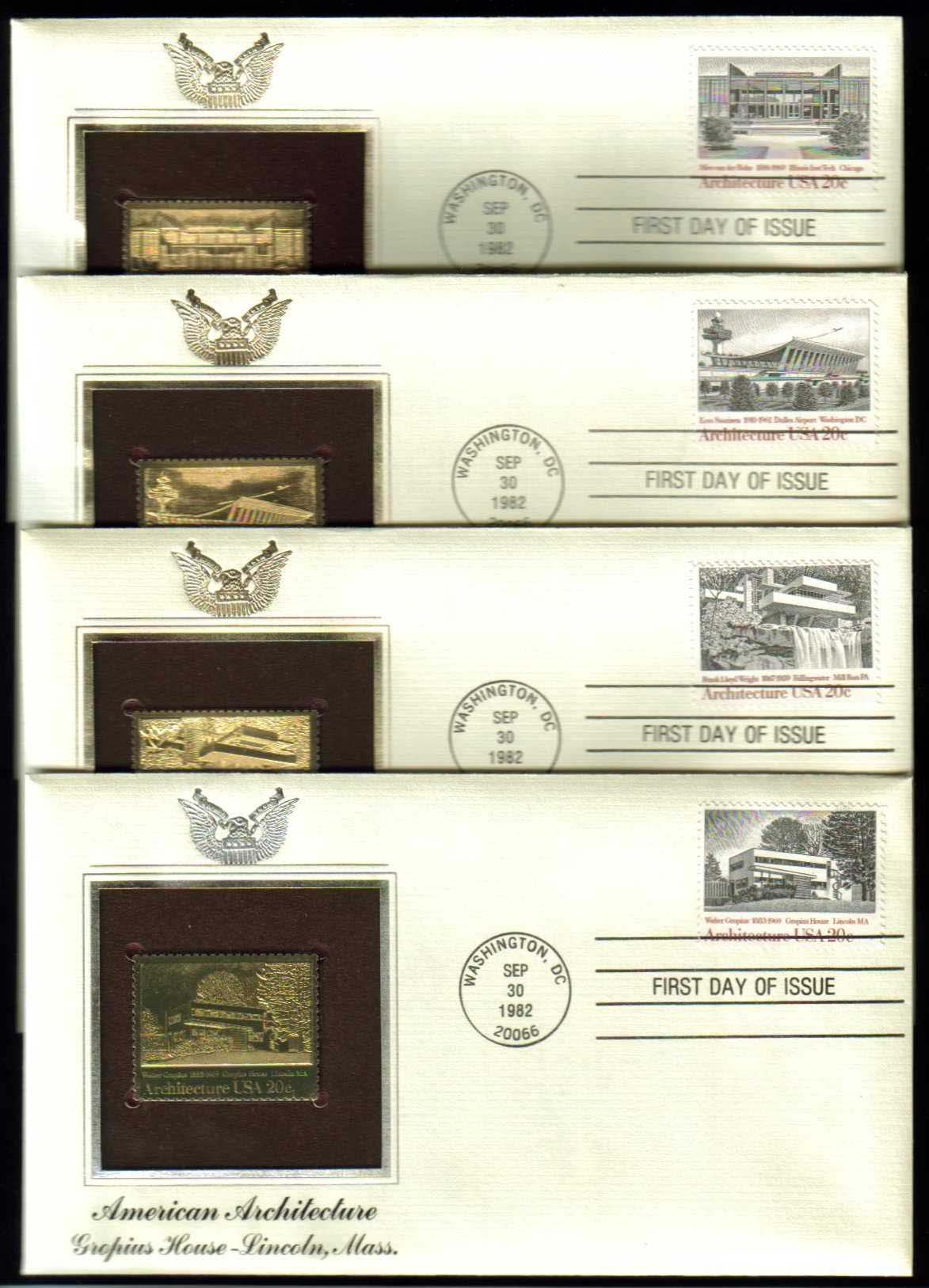 "Scott 2019-2022 Golden Replica (22Kt) unaddressed FDC, Set of 4 <p> <a href=""/images/USA-Scott-2019-2022-Gold.jpg""><font color=green><b>View the image</a></b></font>"