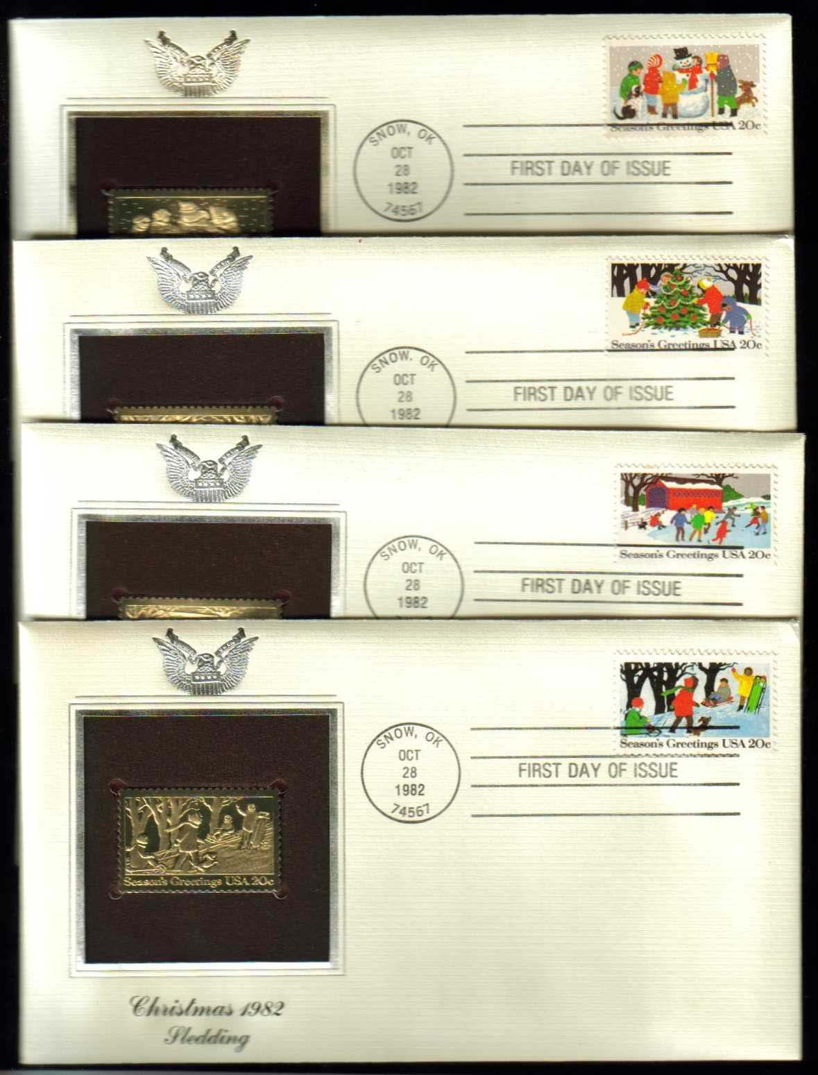 Scott 2027-2030 Golden Replica (22Kt) unaddressed FDC, Set of 4 <p> <a href=&quot;/images/USA-Scott-2027-2030-Gold.jpg&quot;><font color=green><b>View the image</a></b></font>