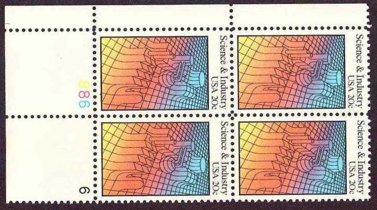 "Scott 2031 Plate Block (20 cents) <p> <a href=""/images/USA-Scott-2031-PB.jpg""><font color=green><b>View the image</a></b></font>"
