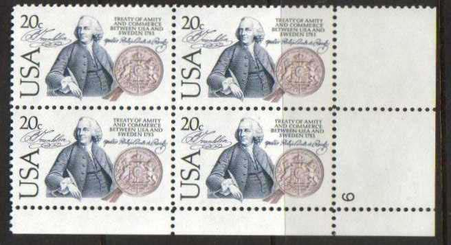 "Scott 2036 Plate Block (20 cents) <p> <a href=""/images/USA-Scott-2036-PB.jpg""><font color=green><b>View the image</a></b></font>"