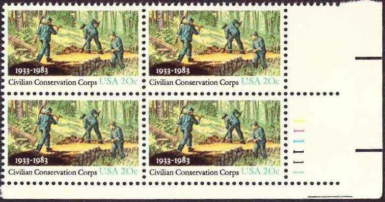 "Scott 2037 Plate Block (20 cents) <p> <a href=""/images/USA-Scott-2037-PB.jpg""><font color=green><b>View the image</a></b></font>"