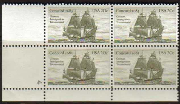 "Scott 2040 Plate Block (20 cents) <p> <a href=""/images/USA-Scott-2040-PB.jpg""><font color=green><b>View the image</a></b></font>"