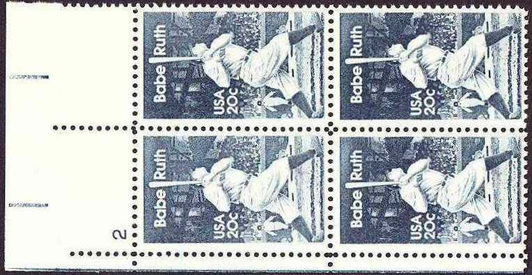 "Scott 2046 Plate Block (20 cents) <p> <a href=""/images/USA-Scott-2046-PB.jpg""><font color=green><b>View the image</a></b></font>"