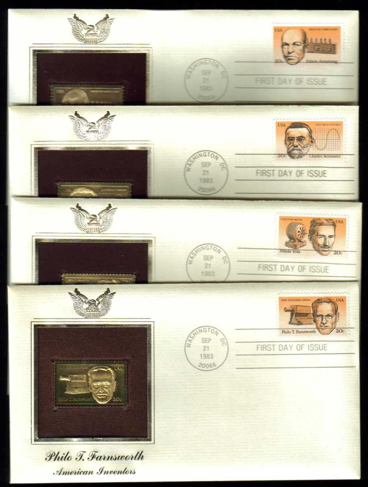 Scott 2055-2058 Golden Replica (22Kt) unaddressed FDC, set of 4 <p> <a href=&quot;/images/USA-Scott-2055-2058-Gold.jpg&quot;><font color=green><b>View the image</a></b></font>