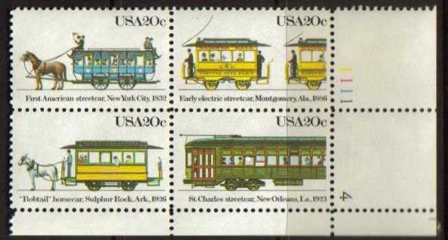 "Scott 2059-2062 Plate Block (20 cents) <p> <a href=""/images/USA-Scott-2059-2062-PB.jpg""><font color=green><b>View the image</a></b></font>"