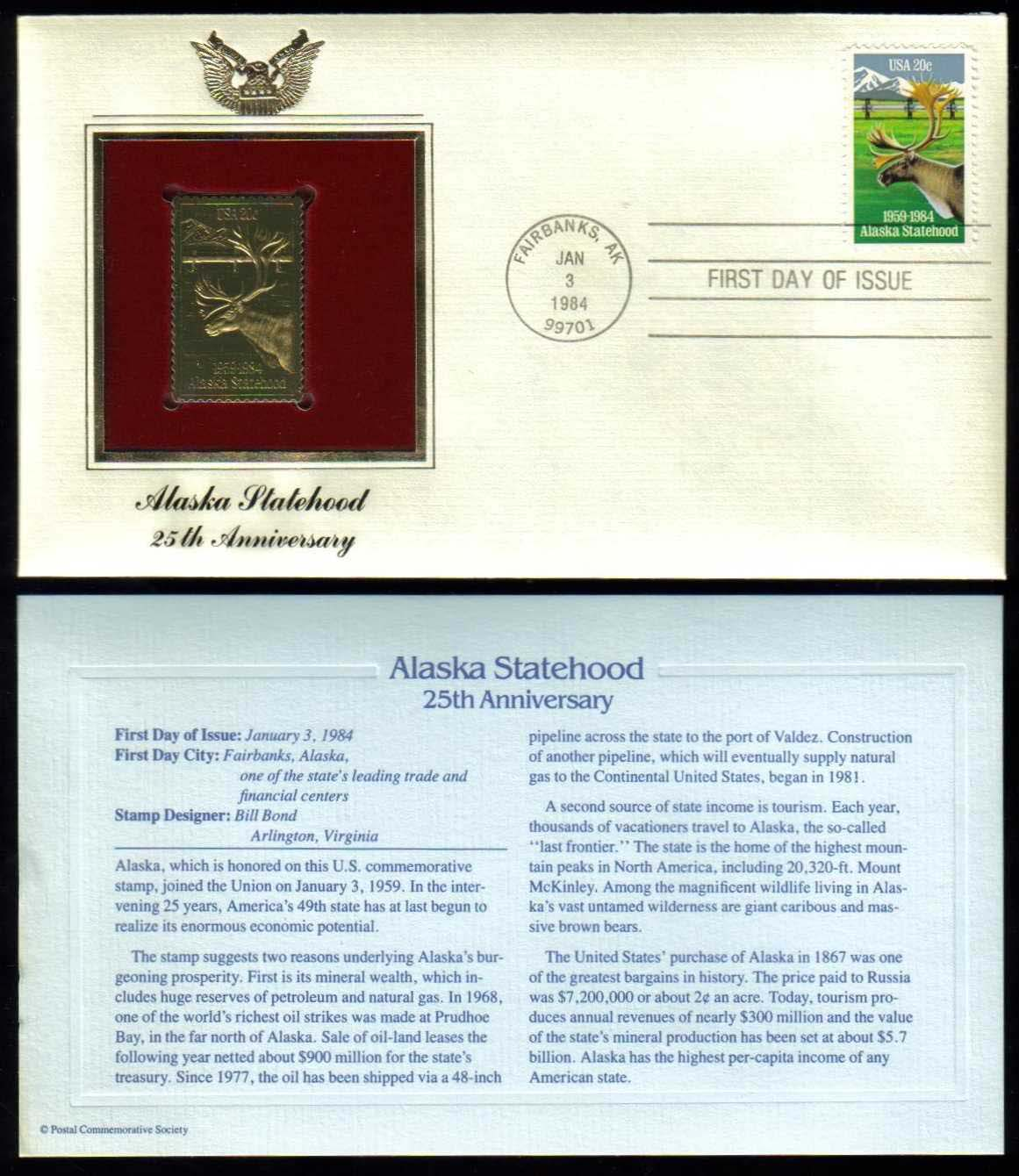 Scott 2066 Golden Replica (22Kt) unaddressed FDC <p> <a href=&quot;/images/USA-Scott-2066-Gold.jpg&quot;><font color=green><b>View the image</a></b></font>