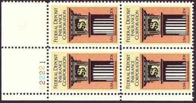 "Scott 2071 Plate Block (20 cents) <p> <a href=""/images/USA-Scott-2071-PB.jpg""><font color=green><b>View the image</a></b></font>"