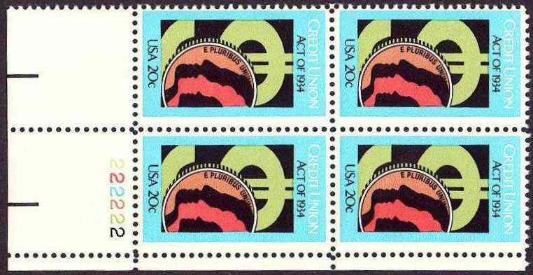 "Scott 2075 Plate Block (20 cents) <p> <a href=""/images/USA-Scott-2075-PB.jpg""><font color=green><b>View the image</a></b></font>"
