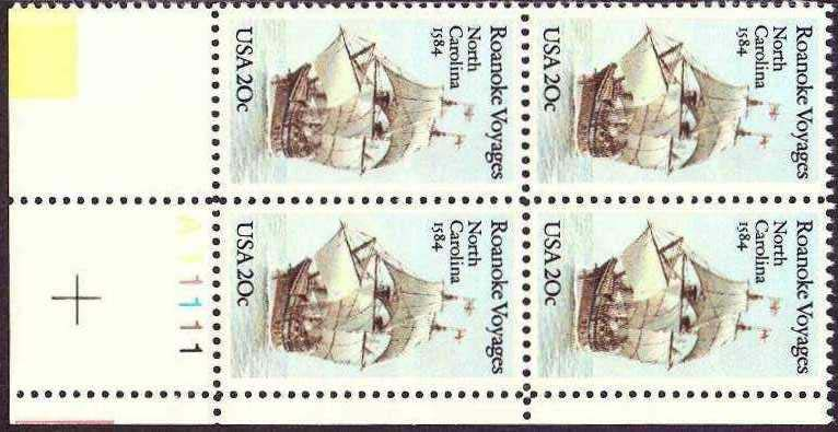 "Scott 2093 Plate Block (20 cents) <p> <a href=""/images/USA-Scott-2093-PB.jpg""><font color=green><b>View the image</a></b></font>"