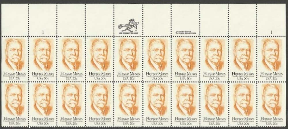 "Scott 2095 Plate Block (20 cents X 20) <p> <a href=""/images/USA-Scott-2095-PB-20.jpg""><font color=green><b>View the image</a></b></font>"