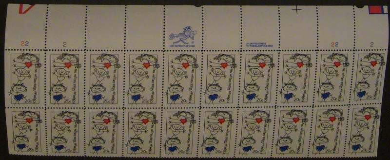 "Scott 2104 Plate Block (20 cents X 20) <p> <a href=""/images/USA-Scott-2104-PB-20.jpg""><font color=green><b>View the image</a></b></font>"