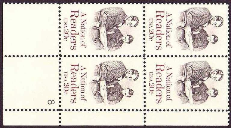"Scott 2106 Plate Block (20 cents) <p> <a href=""/images/USA-Scott-2106-PB.jpg""><font color=green><b>View the image</a></b></font>"