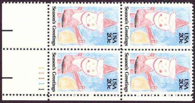 "Scott 2108 Plate Block (20 cents) <p> <a href=""/images/USA-Scott-2108-PB.jpg""><font color=green><b>View the image</a></b></font>"