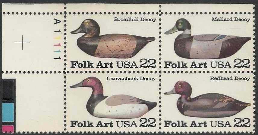 "Scott 2138-2141 Plate Block (22 cents) <p> <a href=""/images/USA-Scott-2138-2141-PB.jpg""><font color=green><b>View the image</a></b></font>"