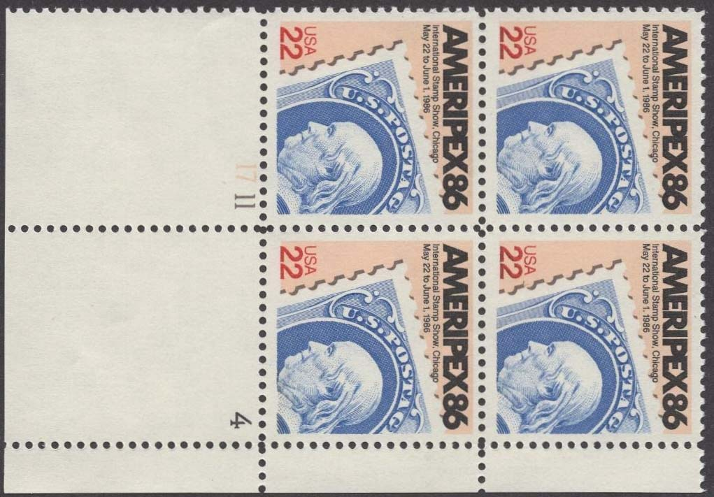 "Scott 2145 Plate Block (22 cents) <p> <a href=""/images/USA-Scott-2145-PB.jpg""><font color=green><b>View the image</a></b></font>"