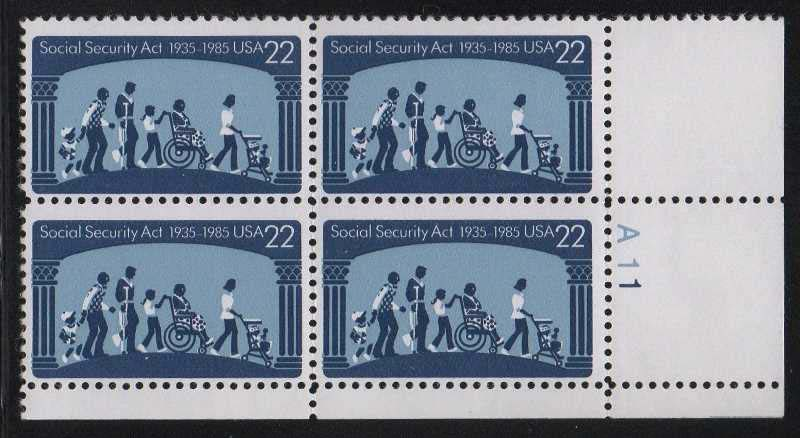 "Scott 2153 Plate Block (22 cents) <p> <a href=""/images/USA-Scott-2153-PB.jpg""><font color=green><b>View the image</a></b></font>"