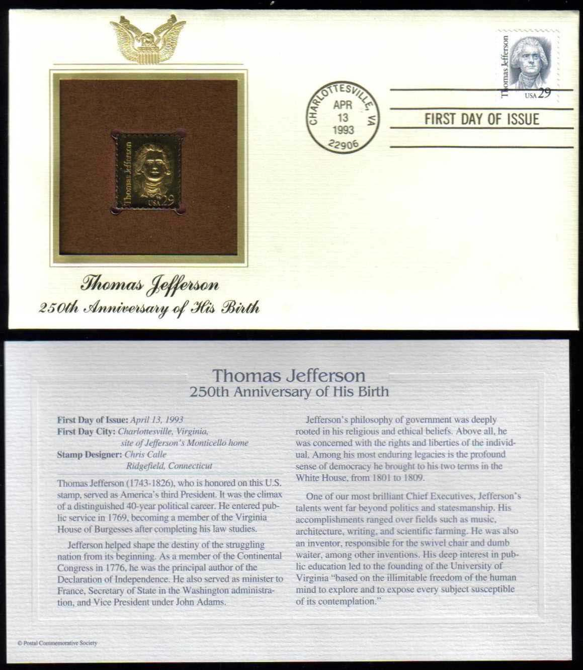"Scott 2185 Golden Replica (22Kt) unaddressed FDC <p> <a href=""/images/USA-Scott-2185-Gold.jpg""><font color=green><b>View the image</a></b></font>"
