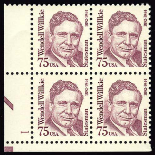 Scott 2192 Plate Block (75 cents) <p> <a href=&quot;/images/USA-Scott-2192-PB.jpg&quot;><font color=green><b>View the image</a></b></font>