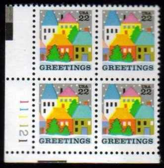 "Scott 2245 Plate Block (22 cents) <p> <a href=""/images/USA-Scott-2245-PB.jpg""><font color=green><b>View the image</a></b></font>"
