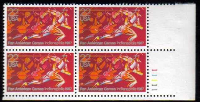 "Scott 2247 Plate Block (22 cents) <p> <a href=""/images/USA-Scott-2247-PB.jpg""><font color=green><b>View the image</a></b></font>"