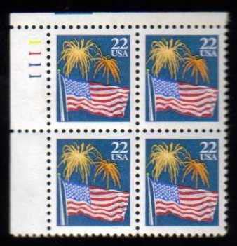 "Scott 2276 Plate Block (22 cents) <p> <a href=""/images/USA-Scott-2276-PB.jpg""><font color=green><b>View the image</a></b></font>"