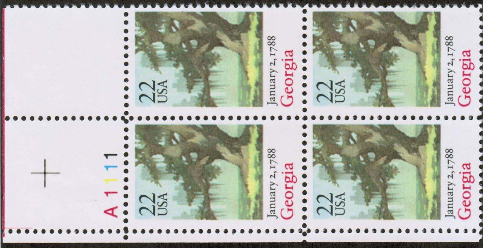 "Scott 2339 Plate Block (22 cents) <p> <a href=""/images/USA-Scott-2339-PB.jpg""><font color=green><b>View the image</a></b></font>"