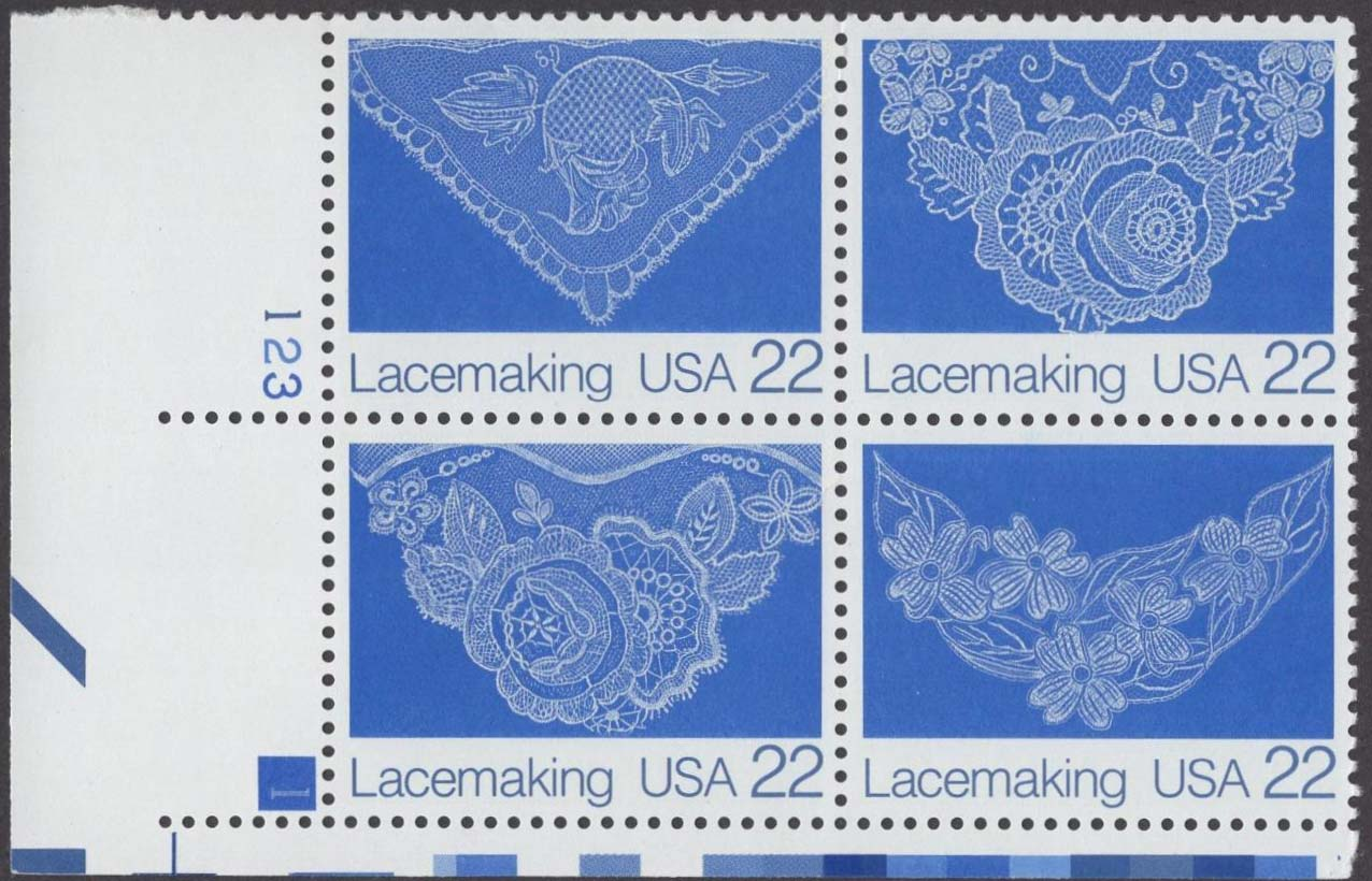 "Scott 2351-2354 Plate Block (22 cents) <p> <a href=""/images/USA-Scott-2351-2354-PB.jpg""><font color=green><b>View the image</a></b></font>"