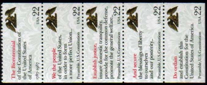 "Scott 2355-2359 booklet pane of 5, (22 cents) (907) <p> <a href=""/images/USA-Scott-2355-2359(907).jpg""><font color=green><b>View the image</a></b></font>"