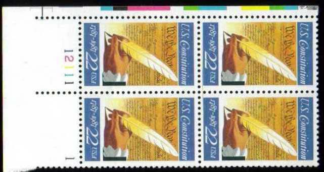 "Scott 2360 Plate Block (22 cents) <p> <a href=""/images/USA-Scott-2360-PB.jpg""><font color=green><b>View the image</a></b></font>"