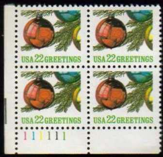 "Scott 2368 Plate Block (22 cents) <p> <a href=""/images/USA-Scott-2368-PB.jpg""><font color=green><b>View the image</a></b></font>"