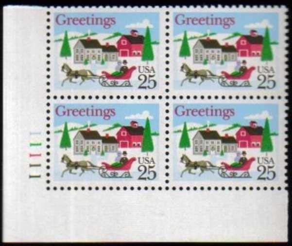 "Scott 2400 Plate Block (25 cents) <p> <a href=""/images/USA-Scott-2400-PB.jpg""><font color=green><b>View the image</a></b></font>"