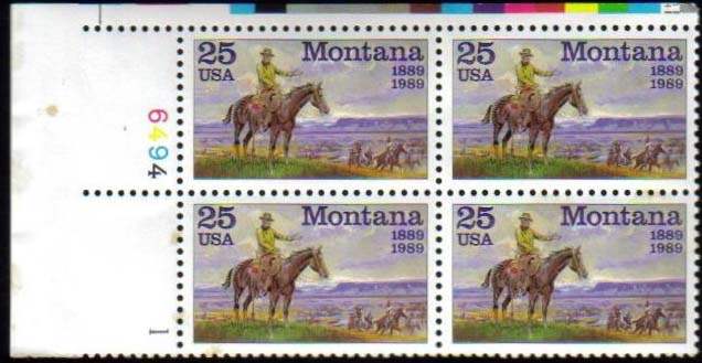 "Scott 2401 Plate Block (25 cents) <p> <a href=""/images/USA-Scott-2401-PB.jpg""><font color=green><b>View the image</a></b></font>"