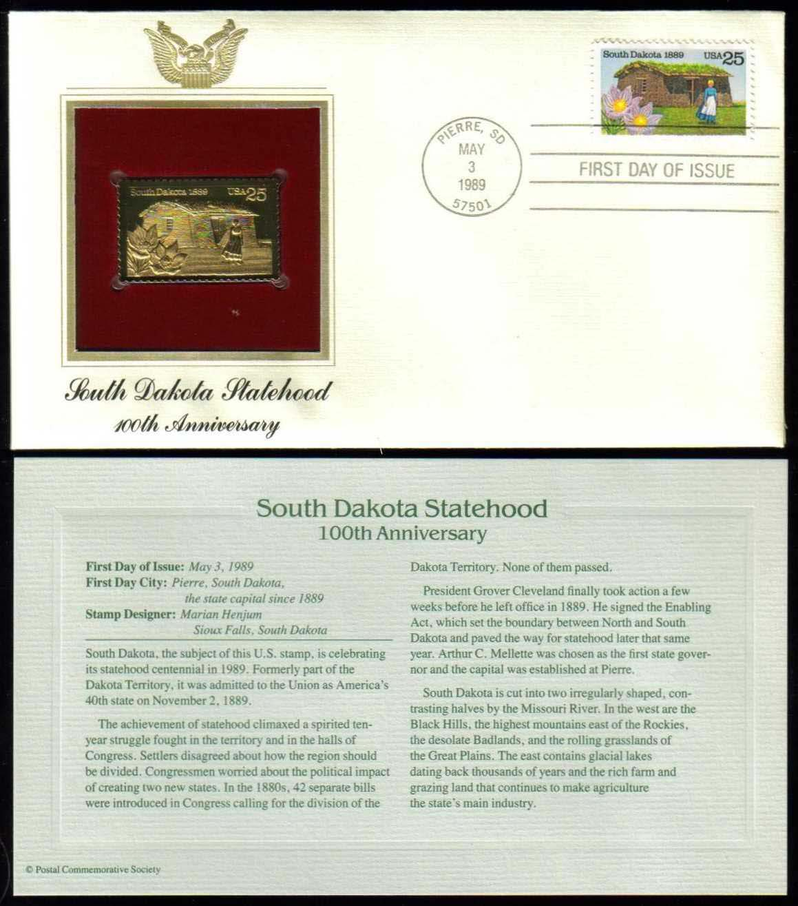 "Scott 2416 Golden Replica (22Kt) unaddressed FDC <p> <a href=""/images/USA-Scott-2416-Gold.jpg""><font color=green><b>View the image</a></b></font>"