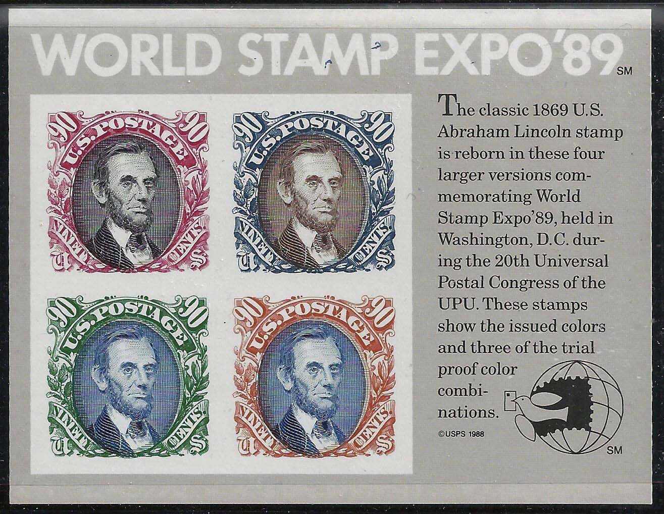 "Scott 2433 Wold Stamp Expo of 89, Souvenir Sheet (Face 3.60) <p> <a href=""/images/USA-Scott-2433-Sheet.jpg""><font color=green><b>View the image</a></b></font>"
