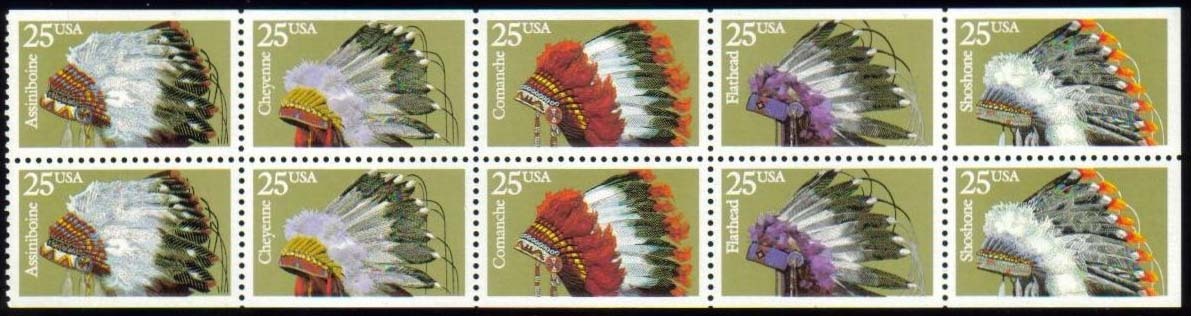 "Scott 2501-2505 Booklet pane of 10, (25 cents) <p> <a href=""/images/USA-Scott-2501-2505(920).jpg""><font color=green><b>View the image</a></b></font>"
