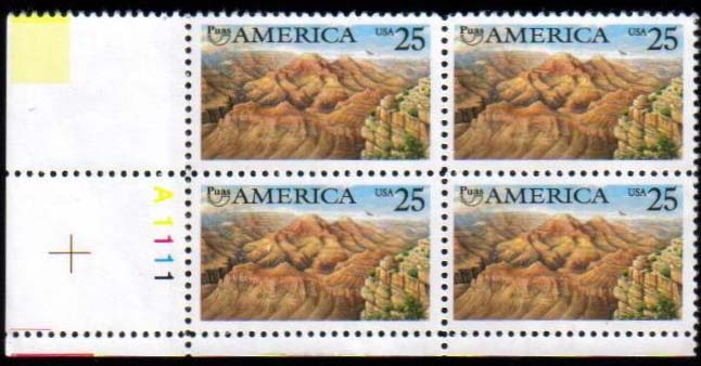 "Scott 2512 Plate Block (25 cents) <p> <a href=""/images/USA-Scott-2512-BL20.jpg""><font color=green><b>View the image</a></b></font>"