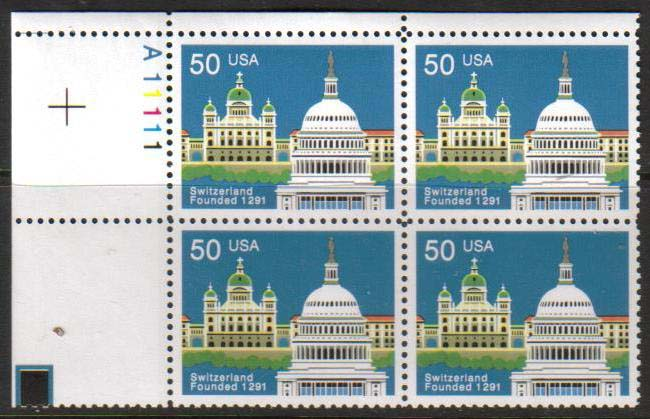"Scott 2532 Plate Block (50 cents) <p> <a href=""/images/USA-Scott-2532-PB.jpg""><font color=green><b>View the image</a></b></font>"