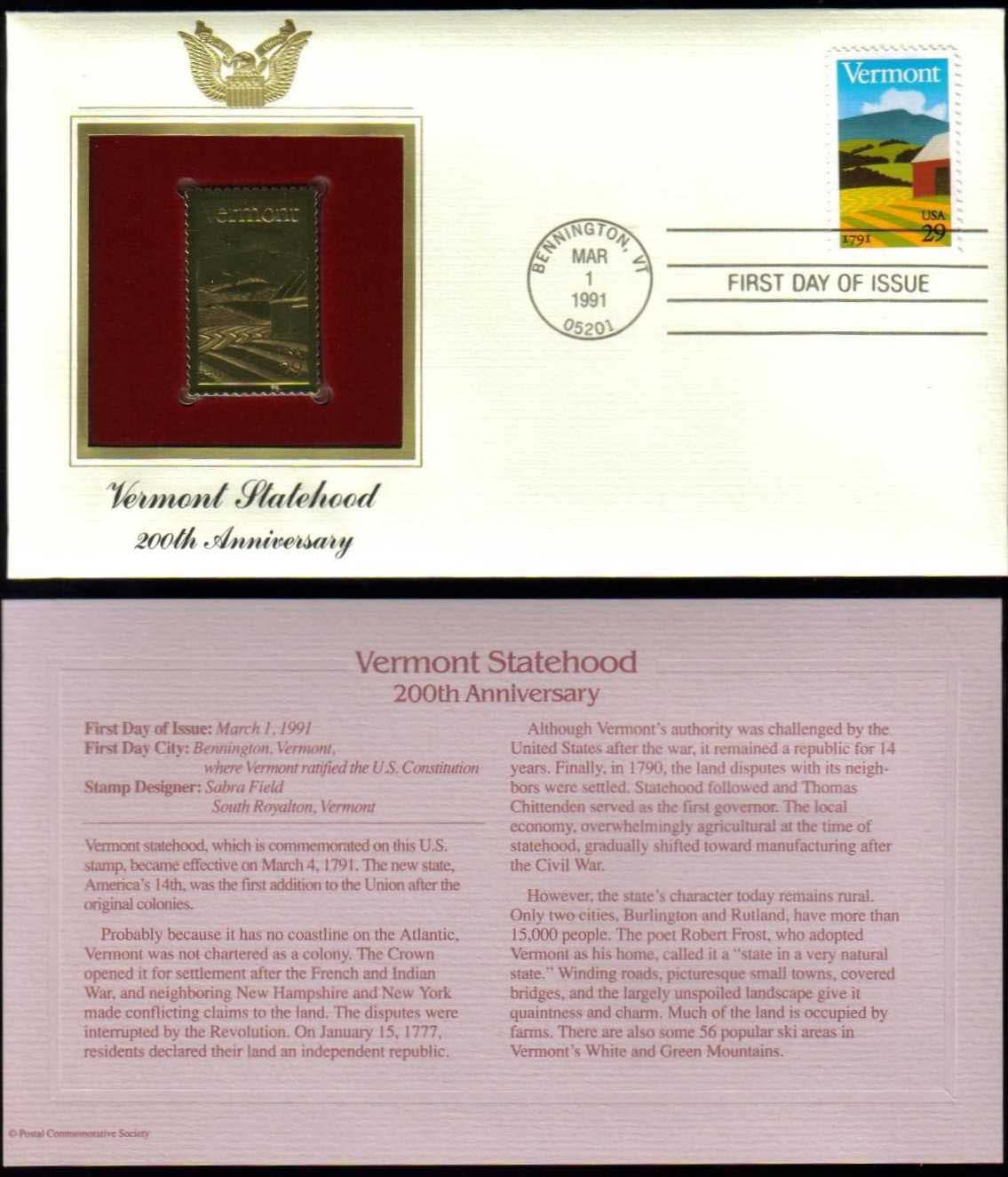 "Scott 2533 Golden Replica (22Kt) unaddressed FDC <p> <a href=""/images/USA-Scott-2533-Gold.jpg""><font color=green><b>View the image</a></b></font>"